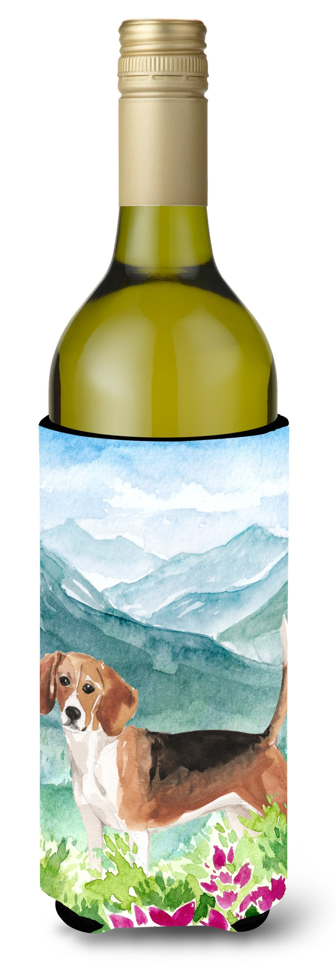 Buy this Mountian Flowers Beagle Wine Bottle Beverage Insulator Hugger CK1994LITERK