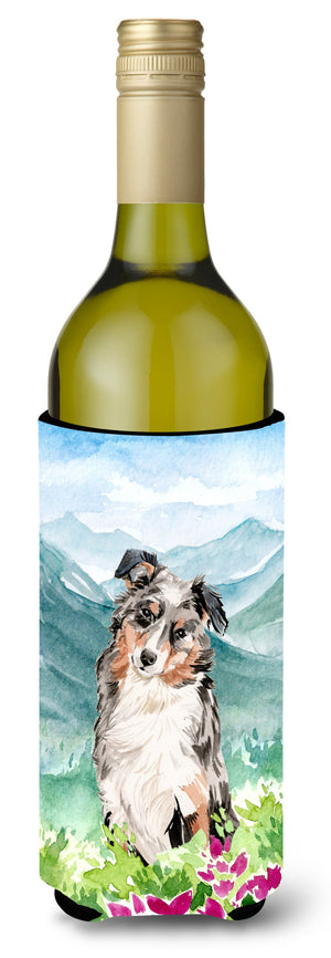 Buy this Mountian Flowers Australian Shepherd Wine Bottle Beverage Insulator Hugger CK1995LITERK