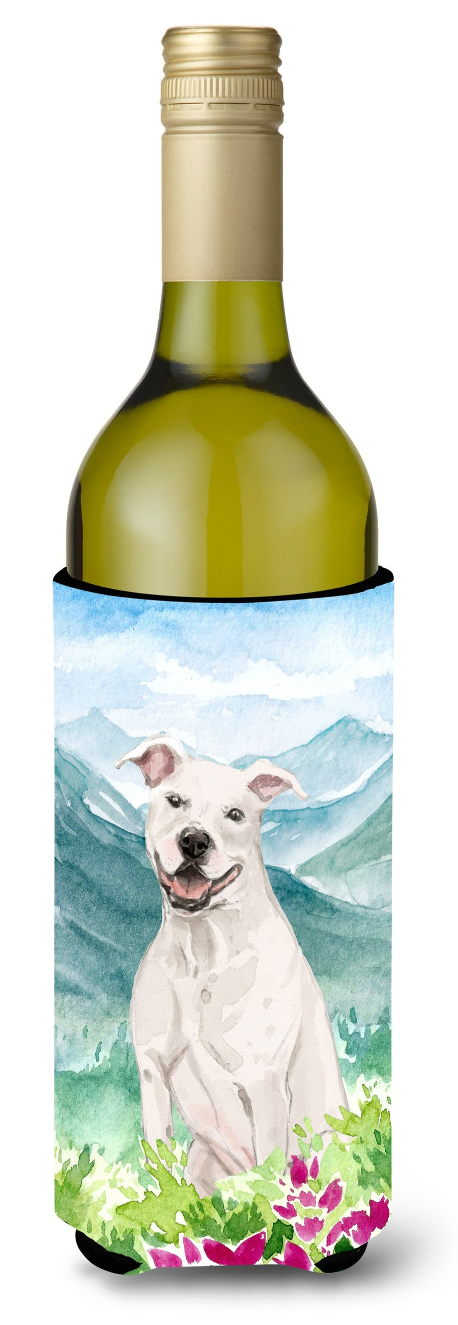 Buy this Mountian Flowers White Staffie Bull Terrier Wine Bottle Beverage Insulator Hugger CK1996LITERK