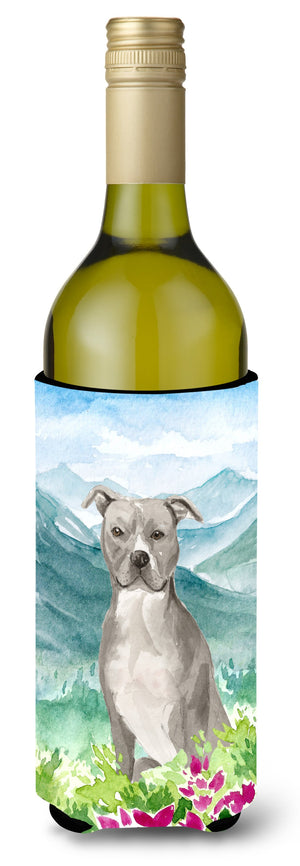 Buy this Mountian Flowers Staffordshire Bull Terrier Wine Bottle Beverage Insulator Hugger CK1997LITERK
