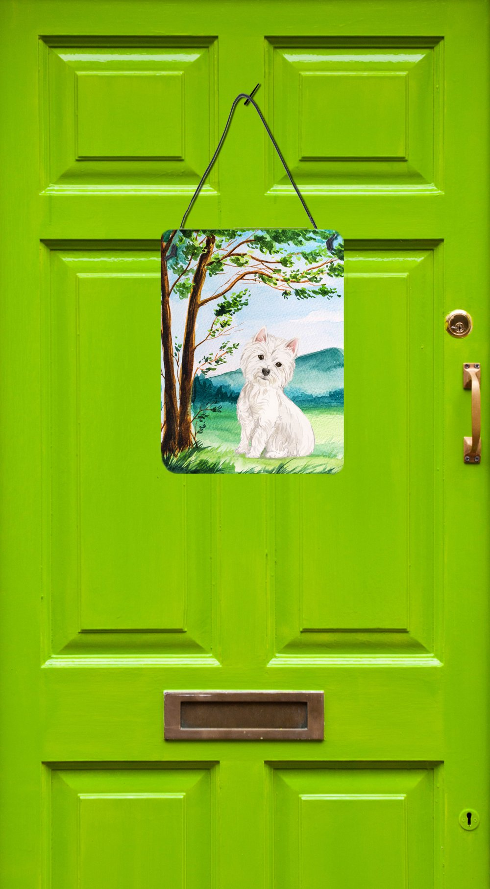 Under the Tree Westie Wall or Door Hanging Prints CK2000DS1216 by Caroline's Treasures