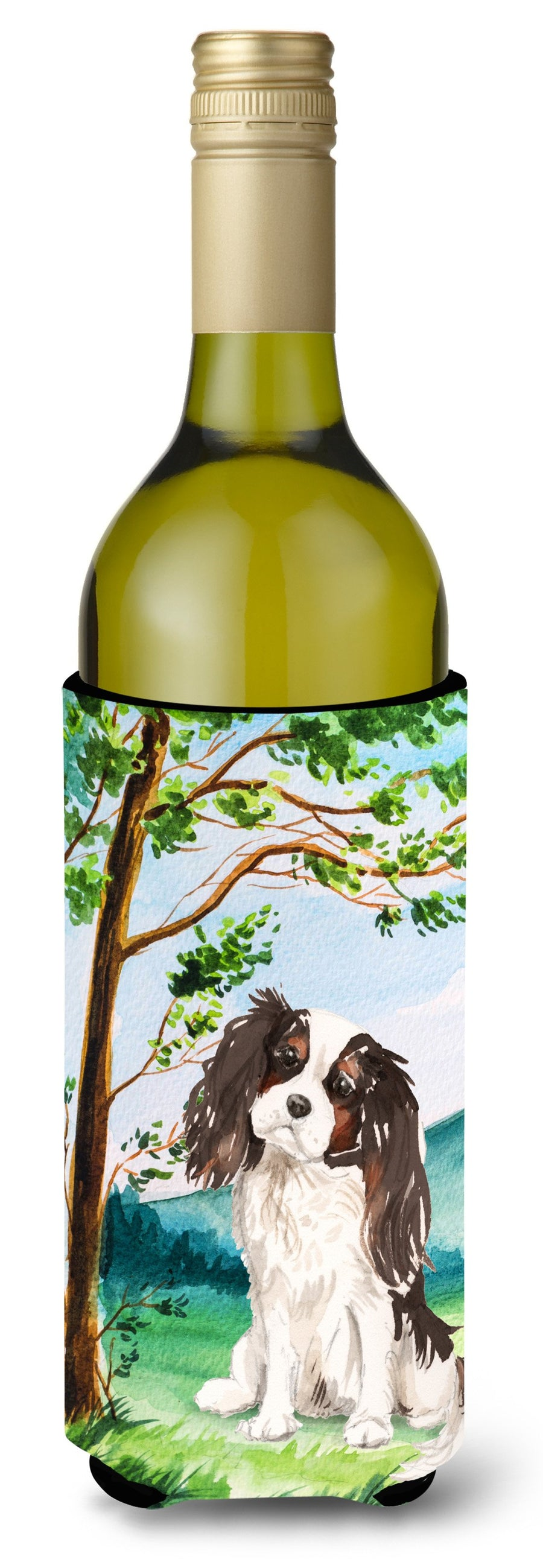 Buy this Under the Tree Tricolor Cavalier Spaniel Wine Bottle Beverage Insulator Hugger CK2001LITERK