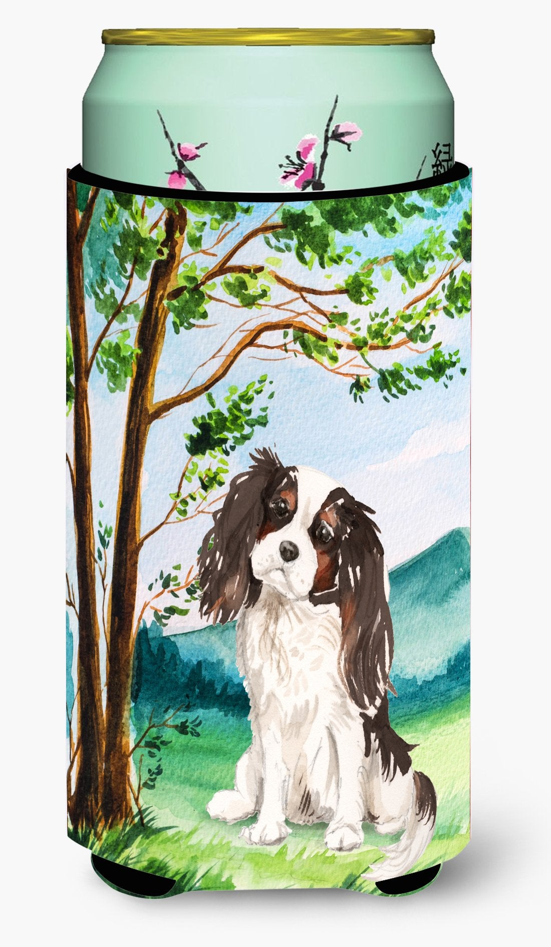 Under the Tree Tricolor Cavalier Spaniel Tall Boy Beverage Insulator Hugger CK2001TBC by Caroline's Treasures
