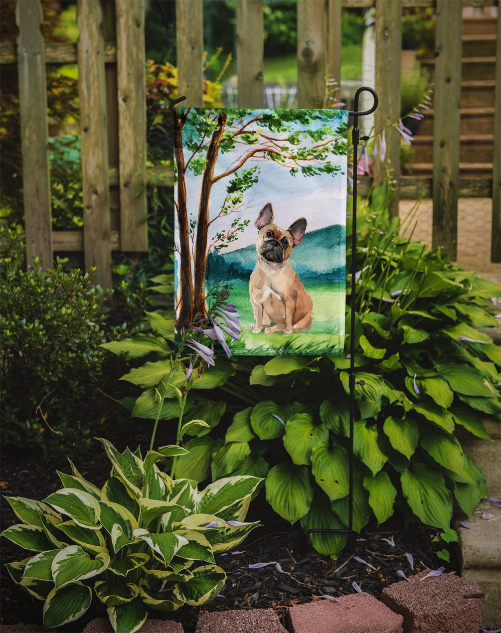 Under the Tree Fawn French Bulldog Flag Garden Size CK2013GF by Caroline's Treasures