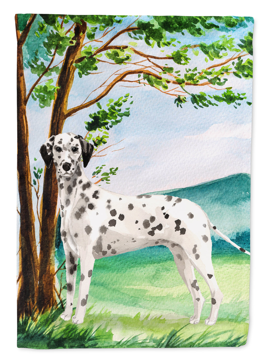 Under the Tree Dalmatian Flag Canvas House Size CK2015CHF by Caroline's Treasures