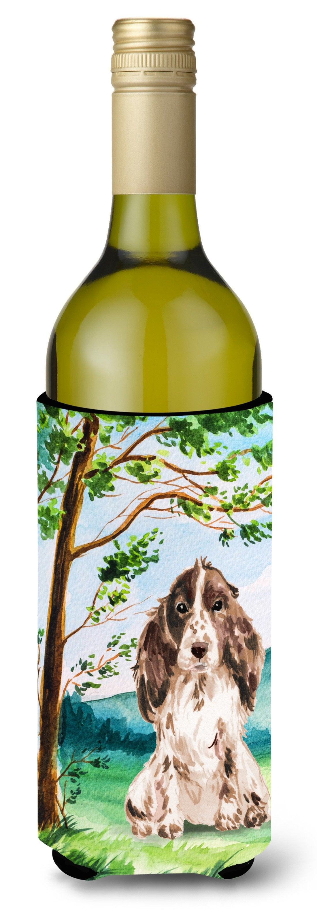 Buy this Under the Tree Chocolate Parti Cocker Spaniel Wine Bottle Beverage Insulator Hugger CK2022LITERK
