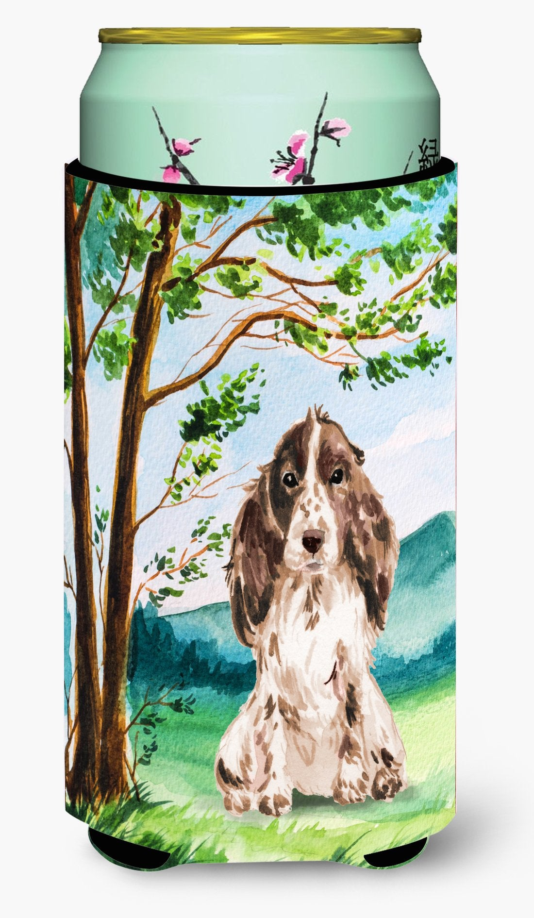 Under the Tree Chocolate Parti Cocker Spaniel Tall Boy Beverage Insulator Hugger CK2022TBC by Caroline's Treasures