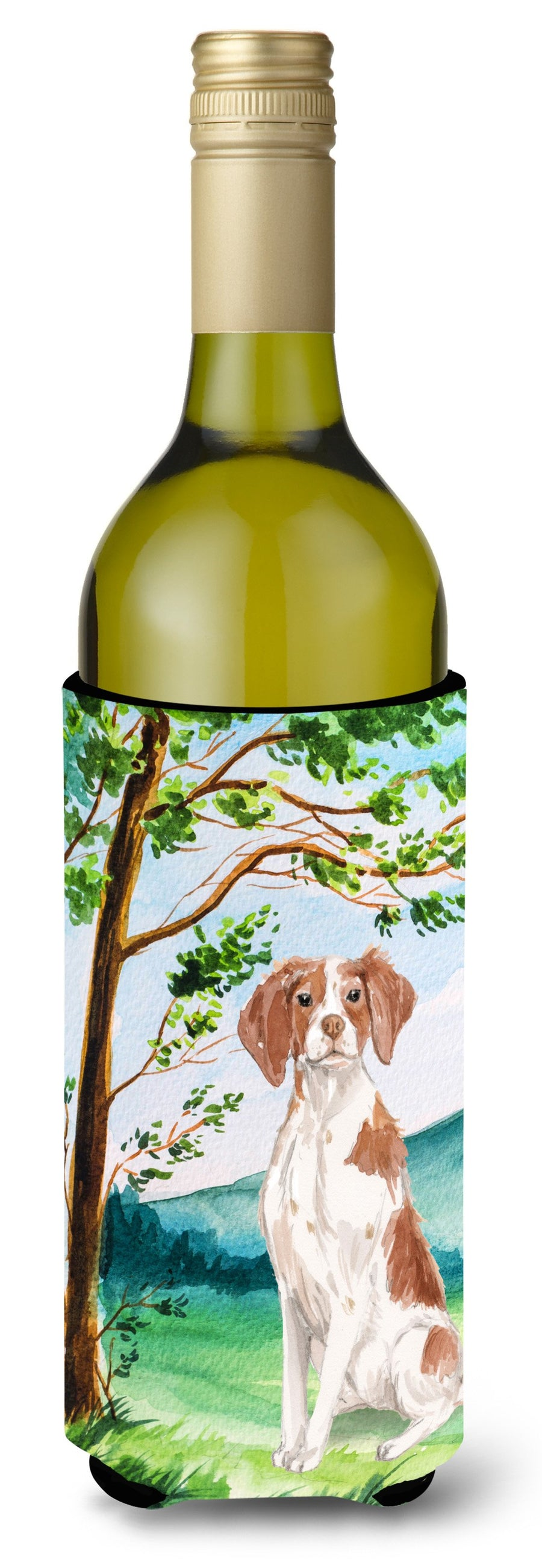 Buy this Under the Tree Brittany Spaniel Wine Bottle Beverage Insulator Hugger CK2024LITERK