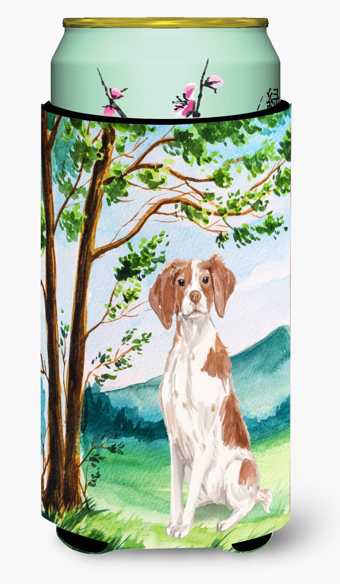 Under the Tree Brittany Spaniel Tall Boy Beverage Insulator Hugger CK2024TBC by Caroline's Treasures