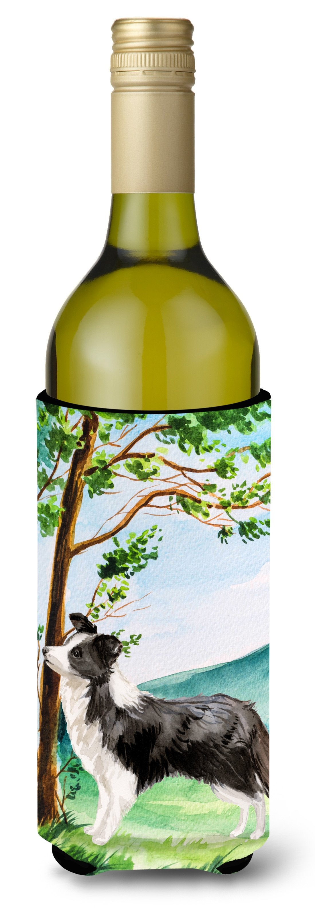 Under the Tree Border Collie Wine Bottle Beverage Insulator Hugger CK2025LITERK by Caroline's Treasures