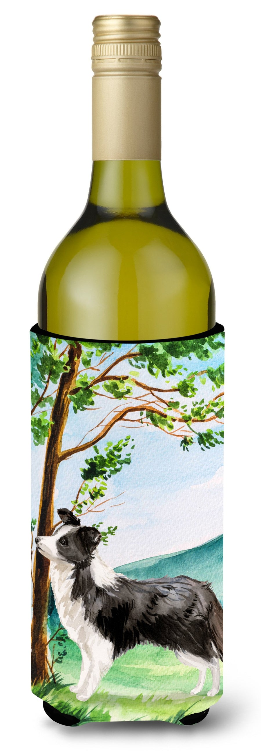 Buy this Under the Tree Border Collie Wine Bottle Beverage Insulator Hugger CK2025LITERK