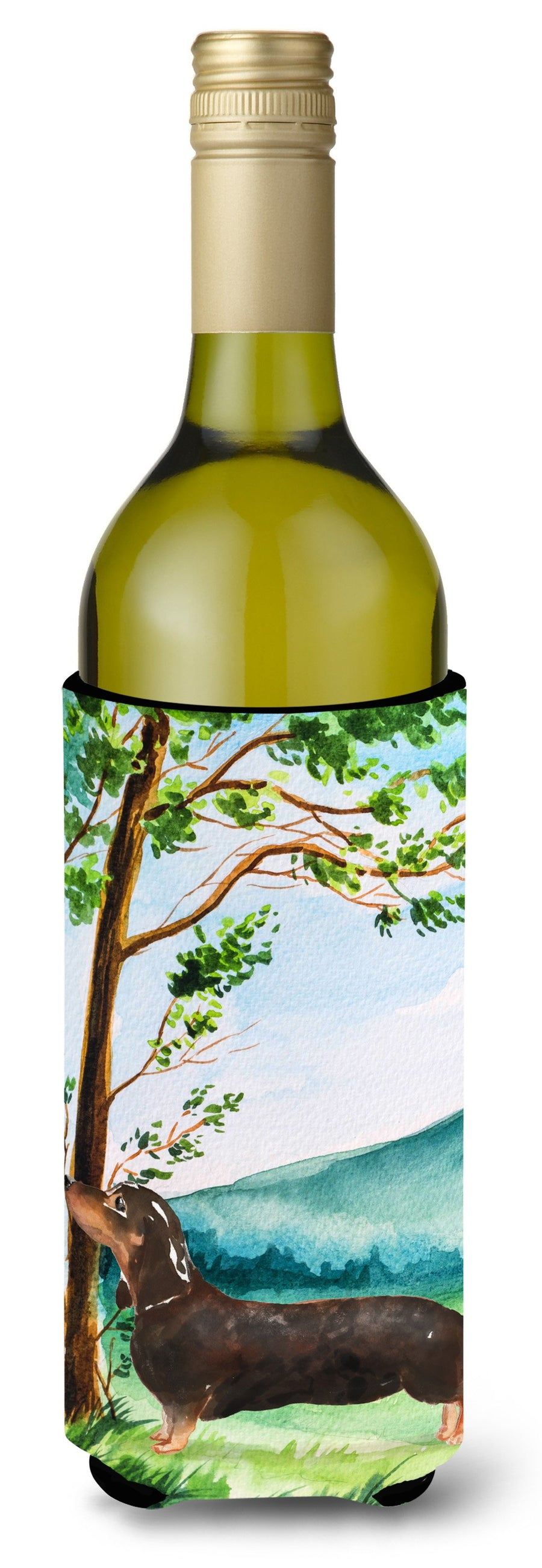 Buy this Under the Tree Dachshund Wine Bottle Beverage Insulator Hugger CK2028LITERK
