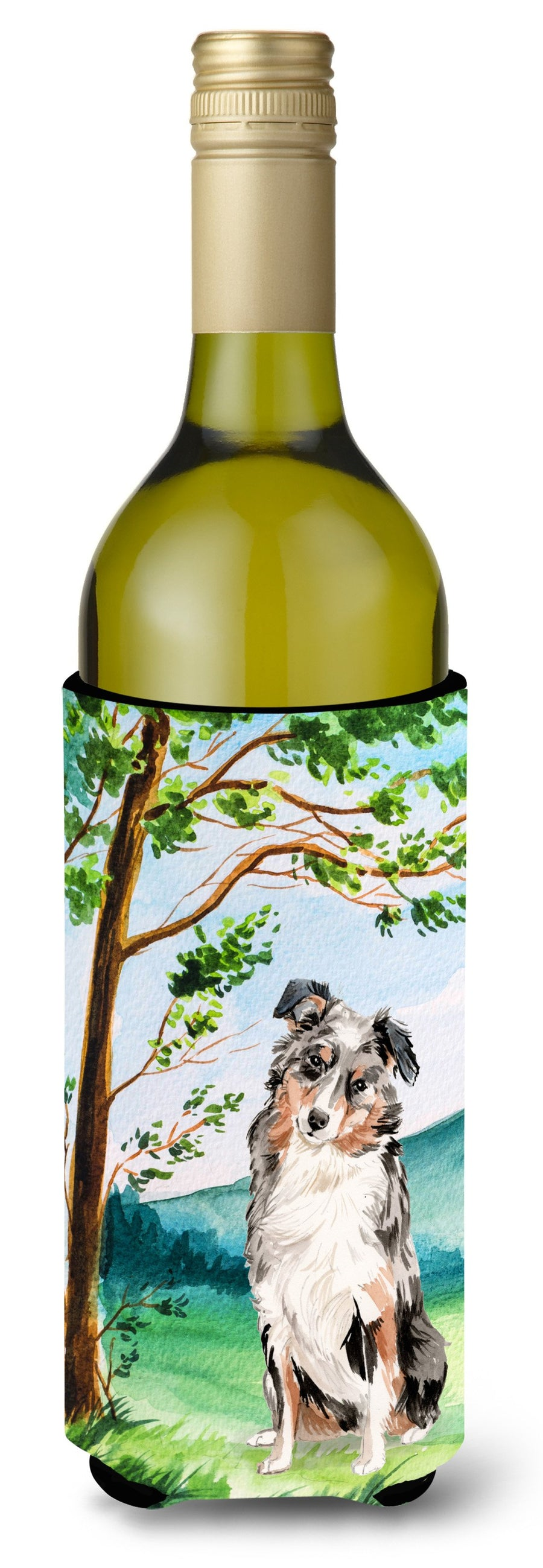 Buy this Under the Tree Australian Shepherd Wine Bottle Beverage Insulator Hugger CK2030LITERK