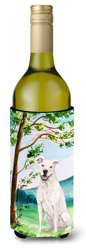 Buy this Under the Tree White Staffie Bull Terrier Wine Bottle Beverage Insulator Hugger CK2031LITERK