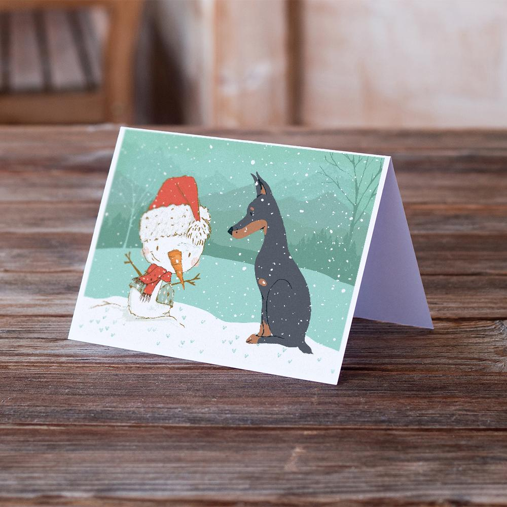 Buy this Doberman and Snowman Christmas Greeting Cards and Envelopes Pack of 8