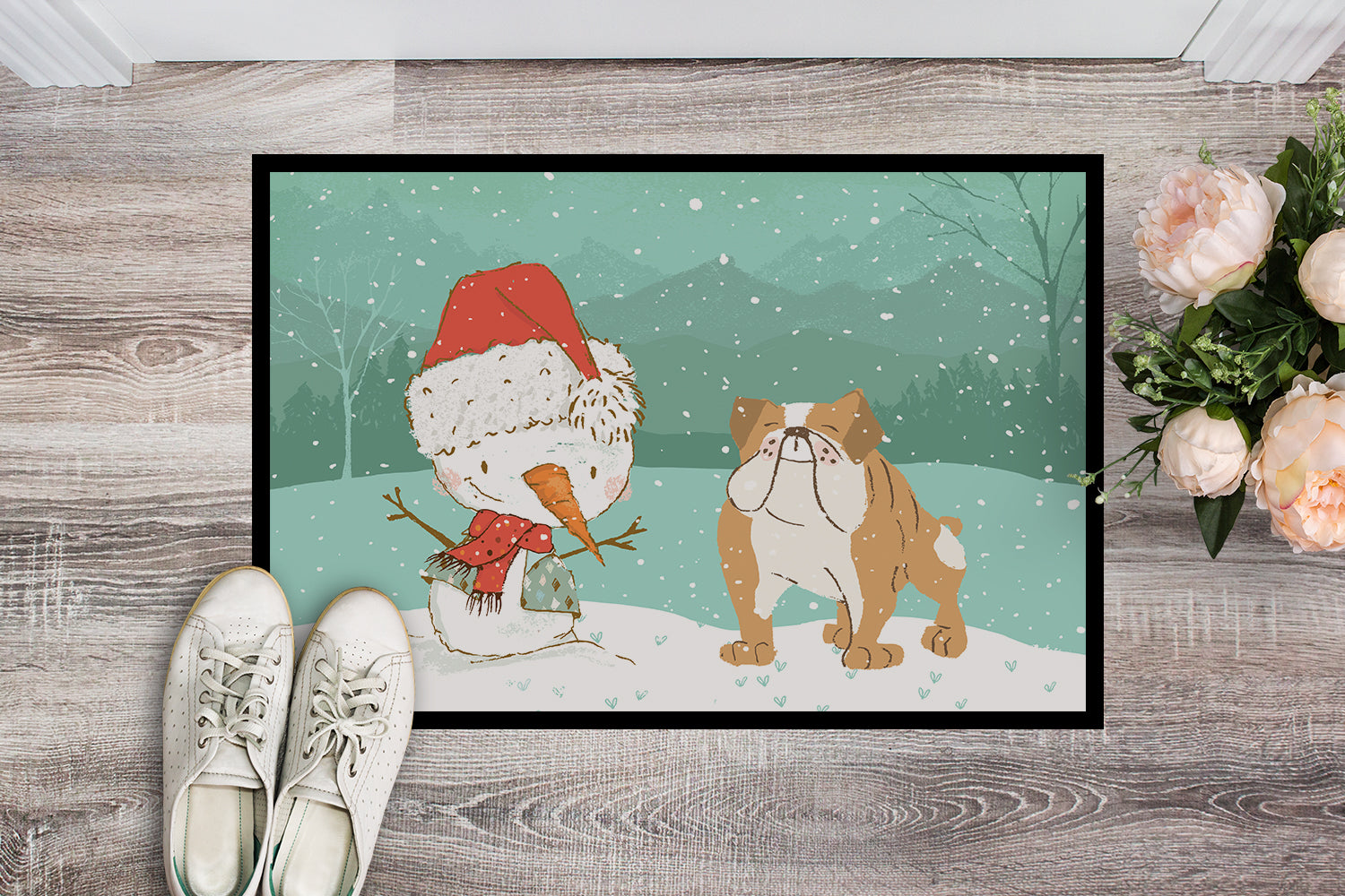 English Bulldog Snowman Christmas Indoor or Outdoor Mat 18x27 CK2053MAT by Caroline's Treasures