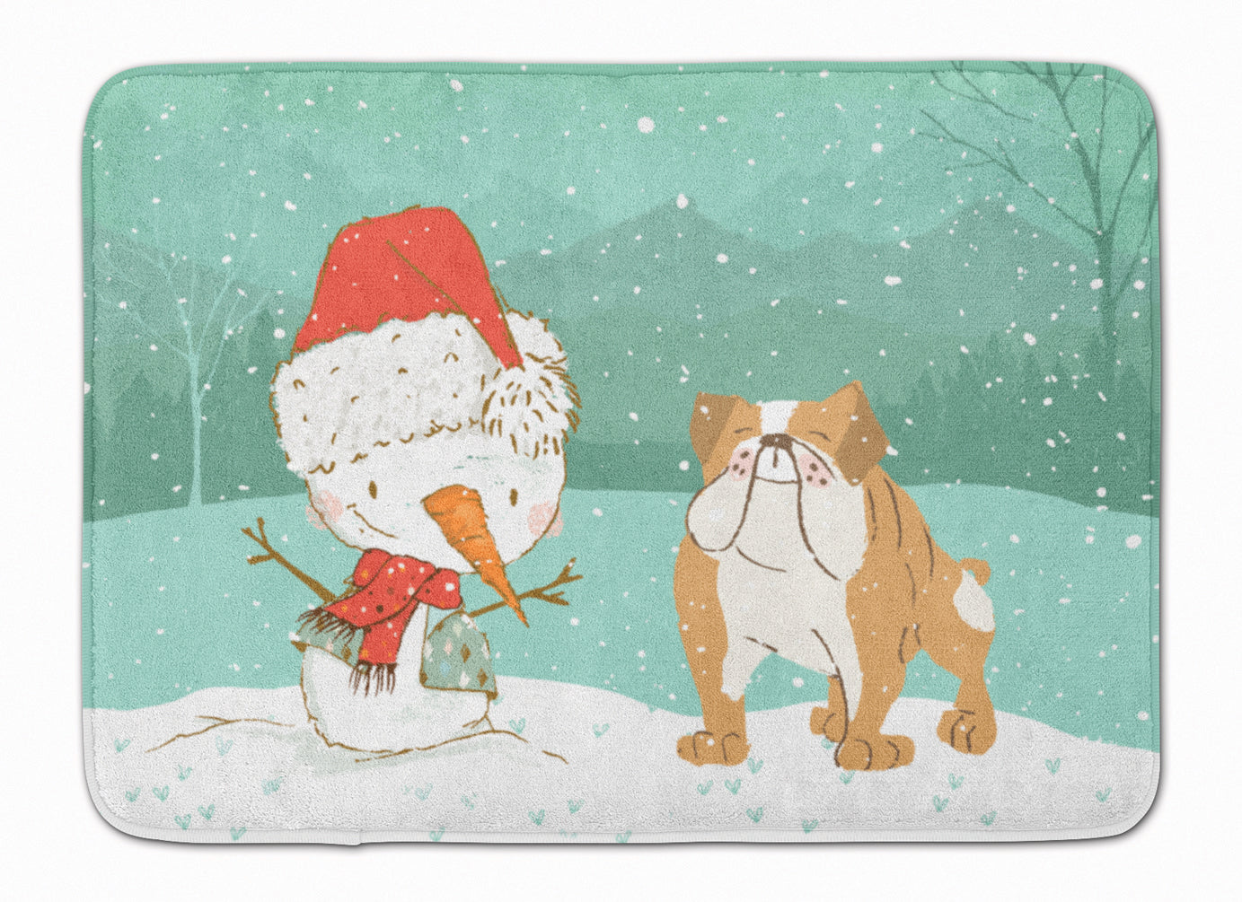 English Bulldog Snowman Christmas Machine Washable Memory Foam Mat CK2053RUG by Caroline's Treasures