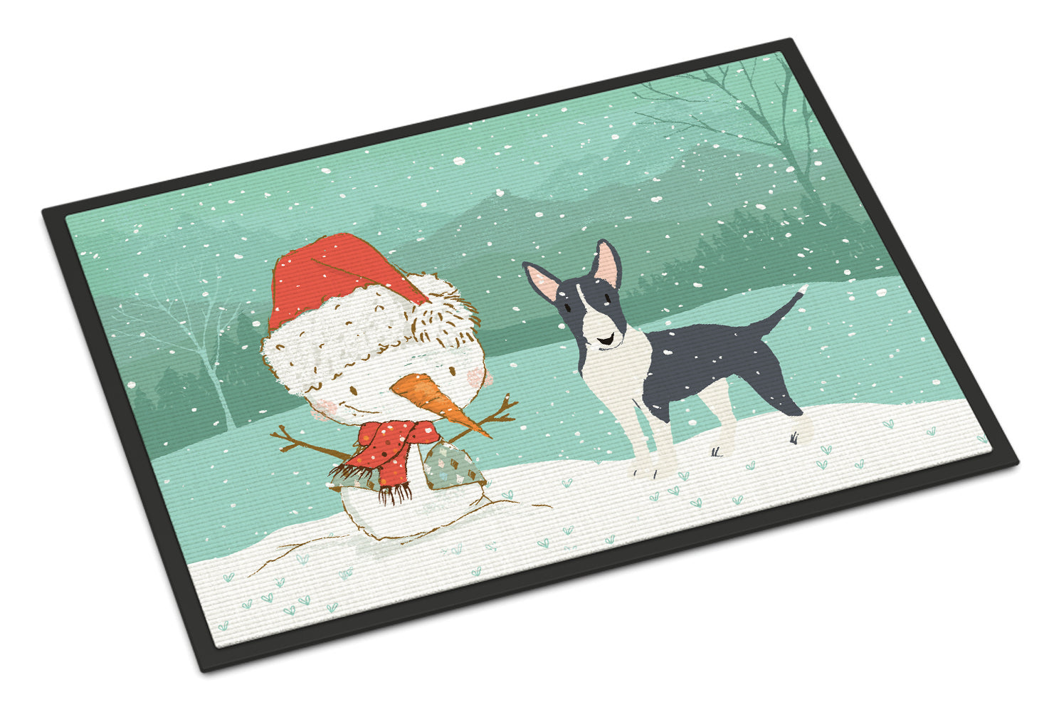 Buy this Black Bull Terrier Snowman Christmas Indoor or Outdoor Mat 18x27 CK2055MAT