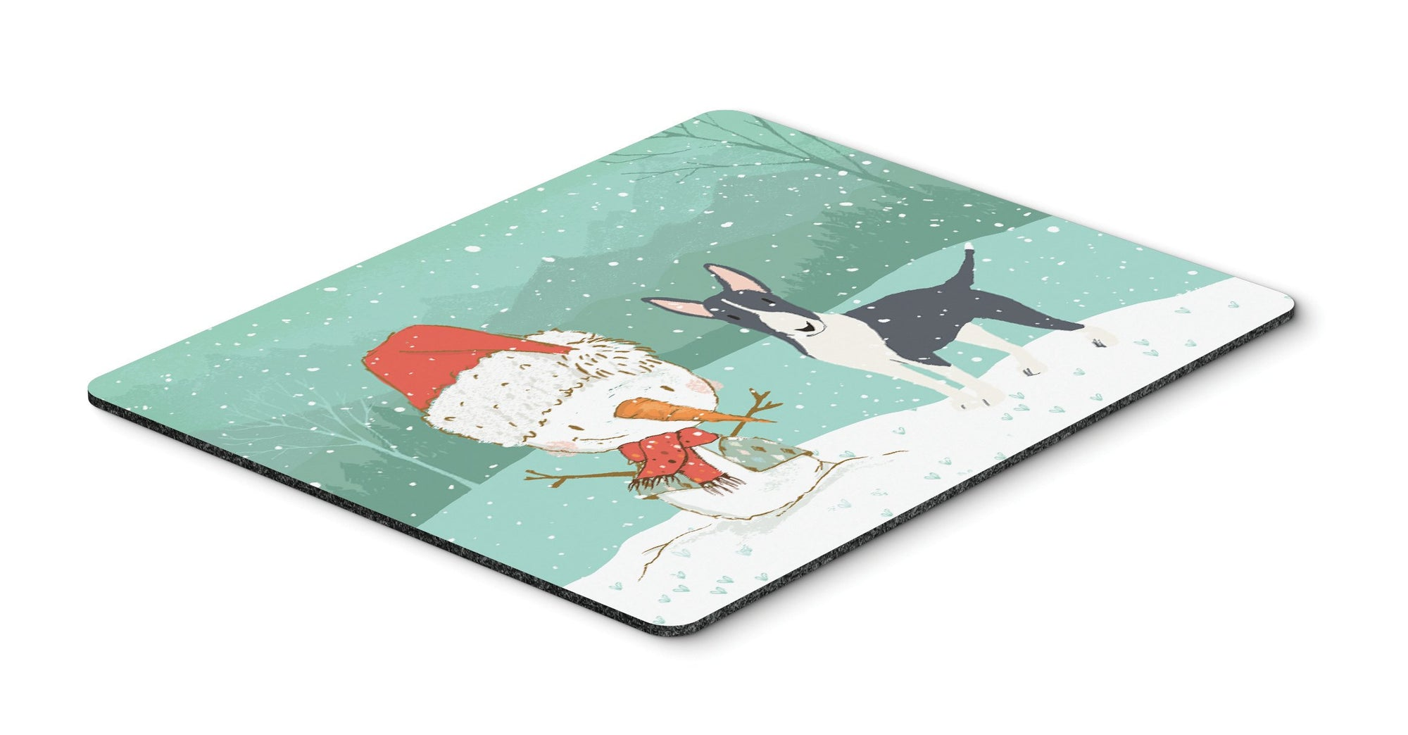 Buy this Black Bull Terrier Snowman Christmas Mouse Pad, Hot Pad or Trivet CK2055MP