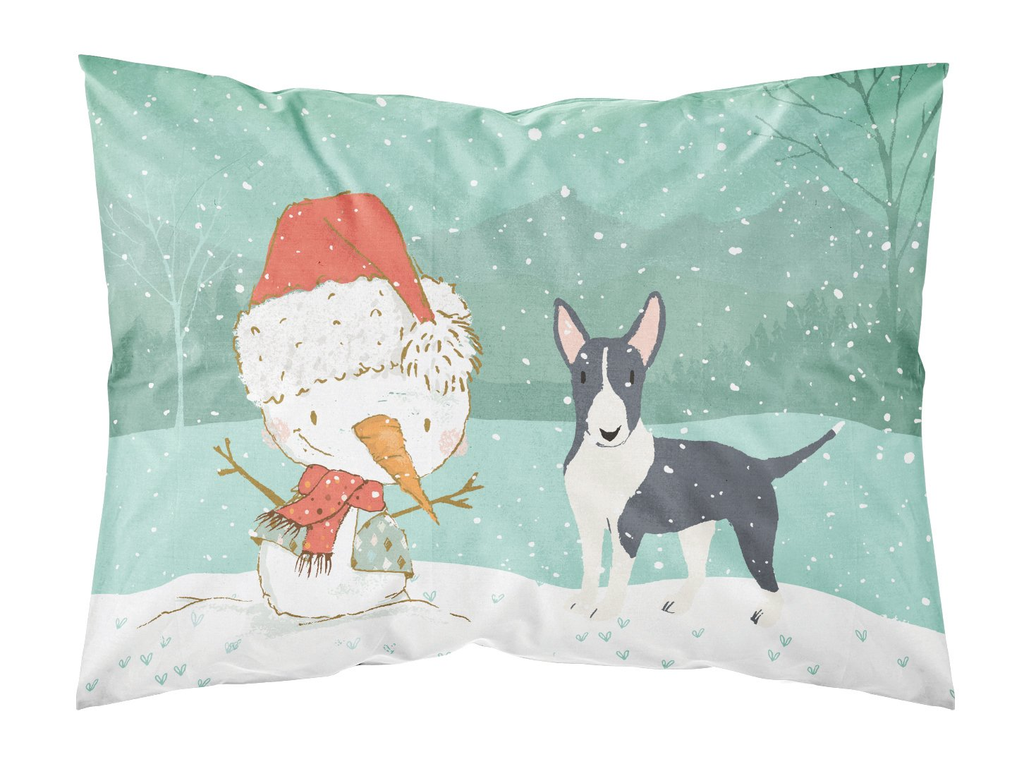 Buy this Black Bull Terrier Snowman Christmas Fabric Standard Pillowcase CK2055PILLOWCASE