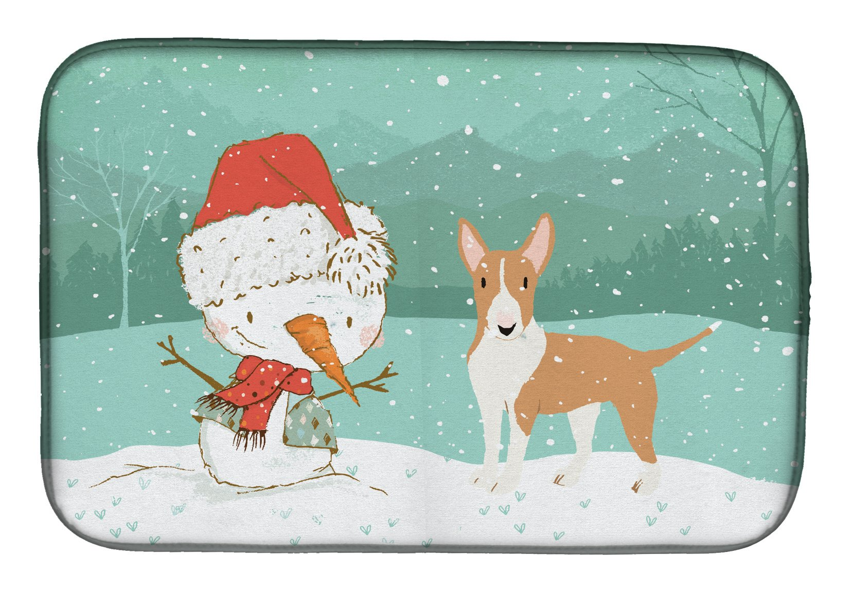 Buy this Fawn Bull Terrier Snowman Christmas Dish Drying Mat CK2056DDM
