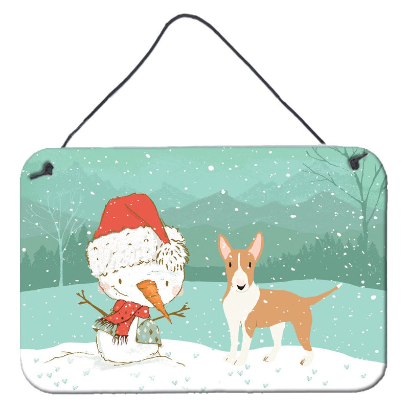 Buy this Fawn Bull Terrier Snowman Christmas Wall or Door Hanging Prints CK2056DS812