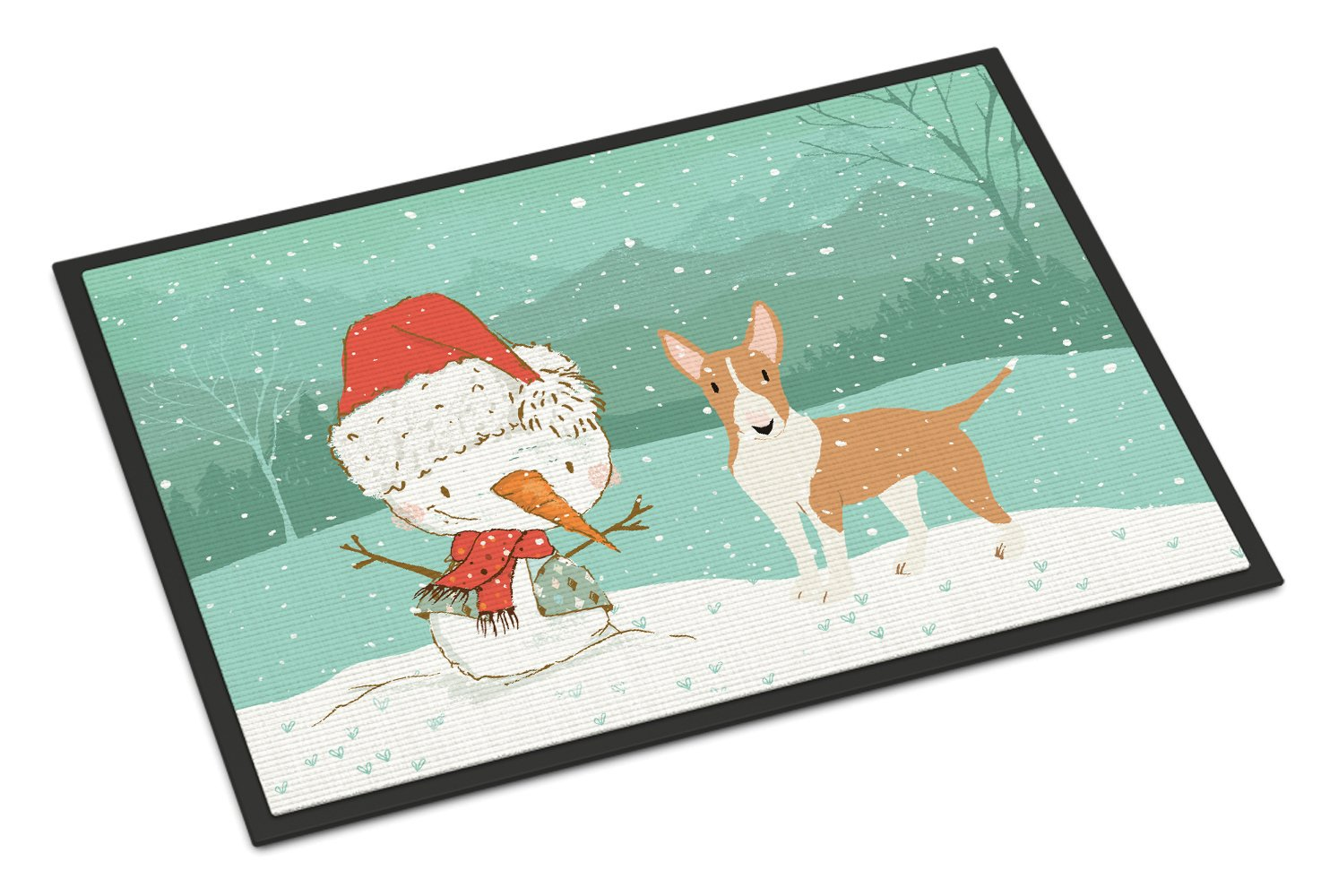 Buy this Fawn Bull Terrier Snowman Christmas Indoor or Outdoor Mat 24x36 CK2056JMAT