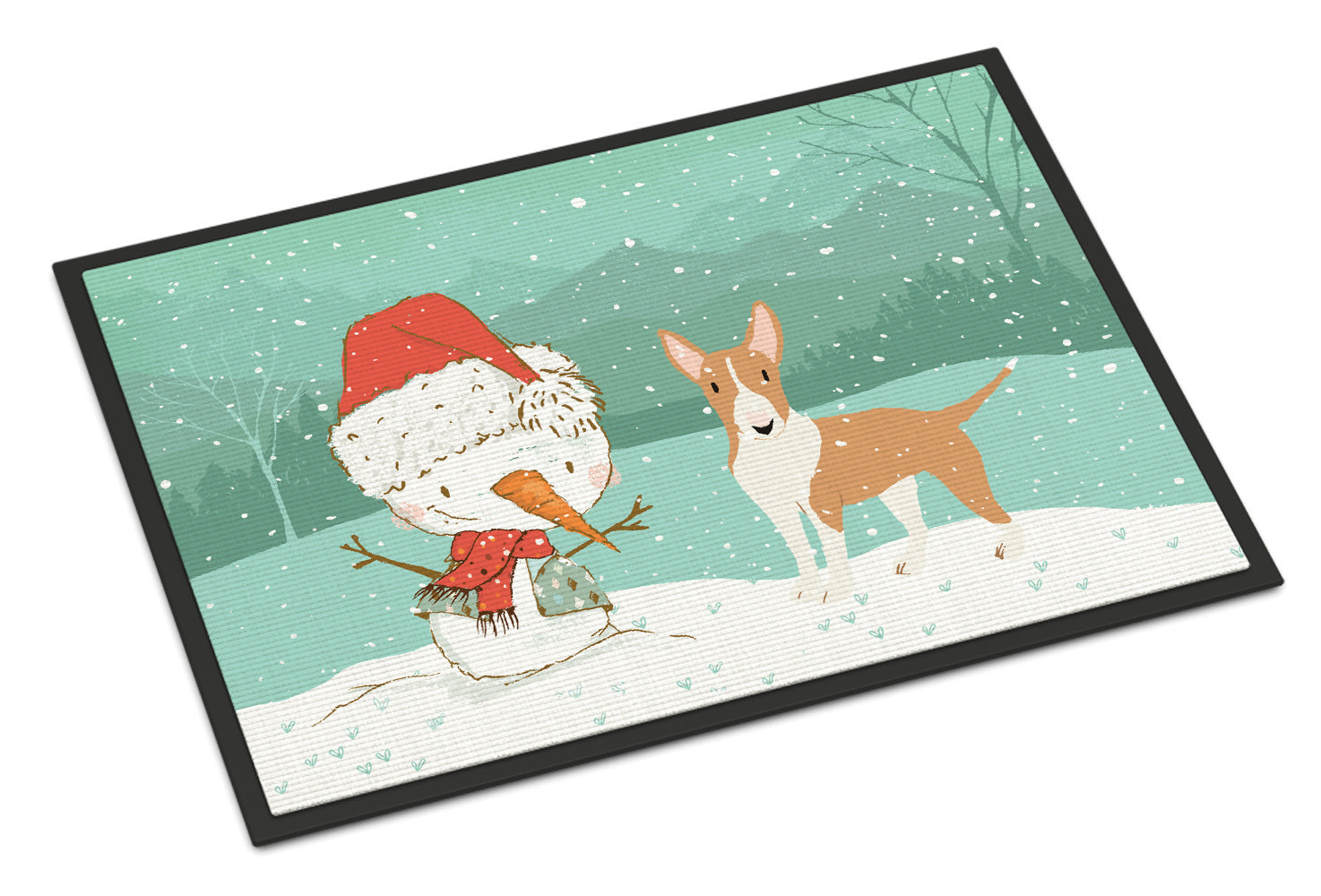 Buy this Fawn Bull Terrier Snowman Christmas Indoor or Outdoor Mat 18x27 CK2056MAT