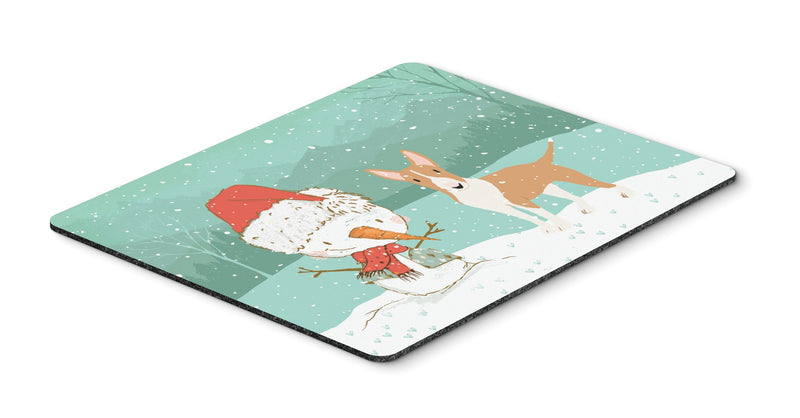 Buy this Fawn Bull Terrier Snowman Christmas Mouse Pad, Hot Pad or Trivet CK2056MP