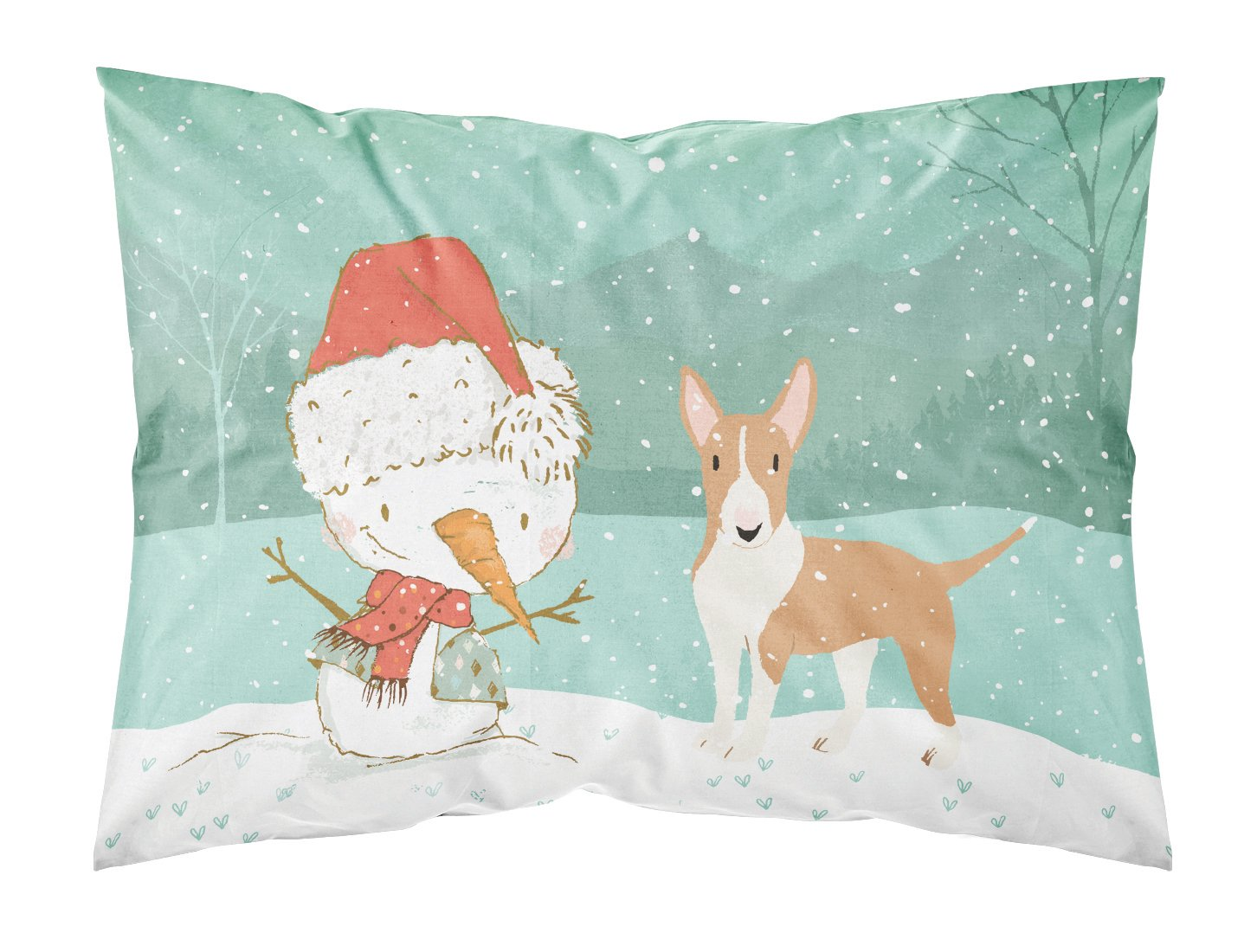 Buy this Fawn Bull Terrier Snowman Christmas Fabric Standard Pillowcase CK2056PILLOWCASE