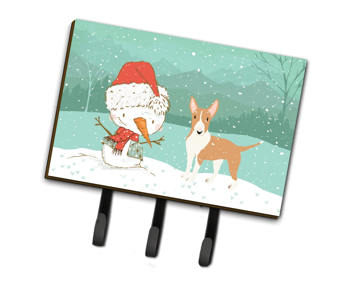 Buy this Fawn Bull Terrier Snowman Christmas Leash or Key Holder CK2056TH68