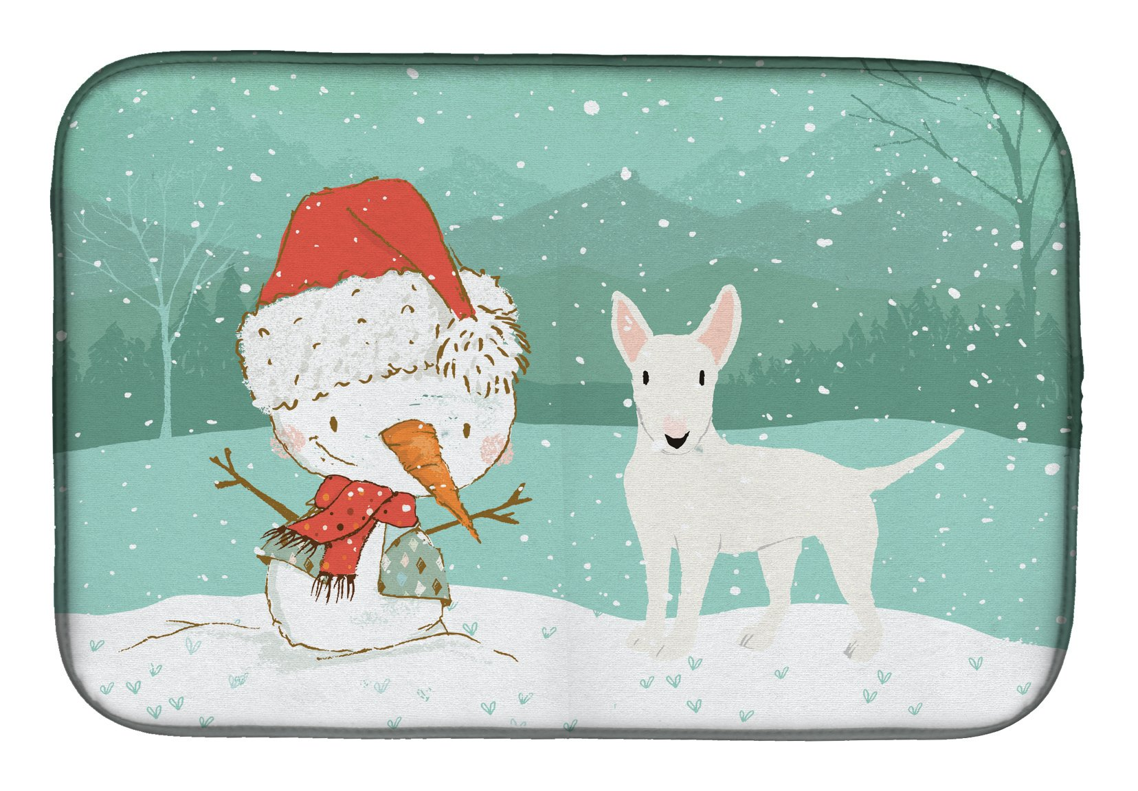 Buy this White Bull Terrier Snowman Christmas Dish Drying Mat CK2058DDM