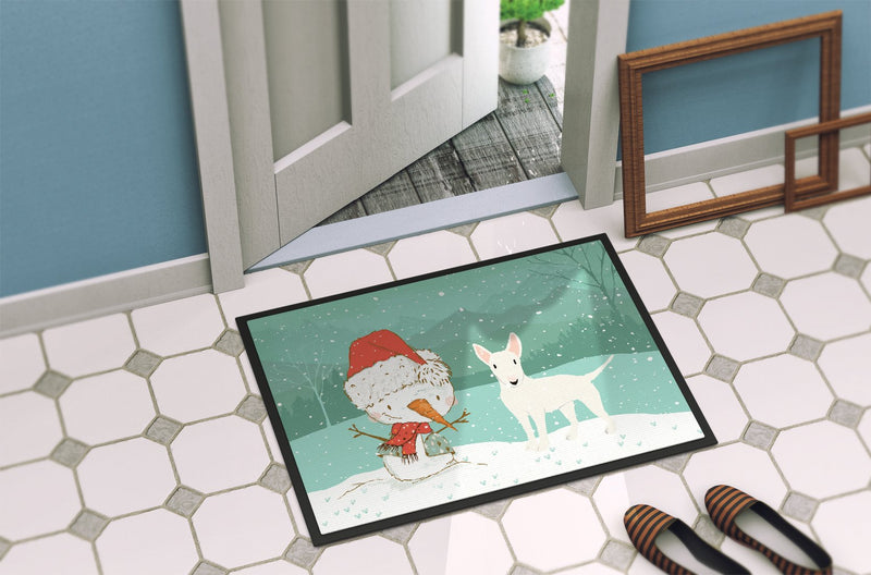 Buy this White Bull Terrier Snowman Christmas Indoor or Outdoor Mat 24x36 CK2058JMAT