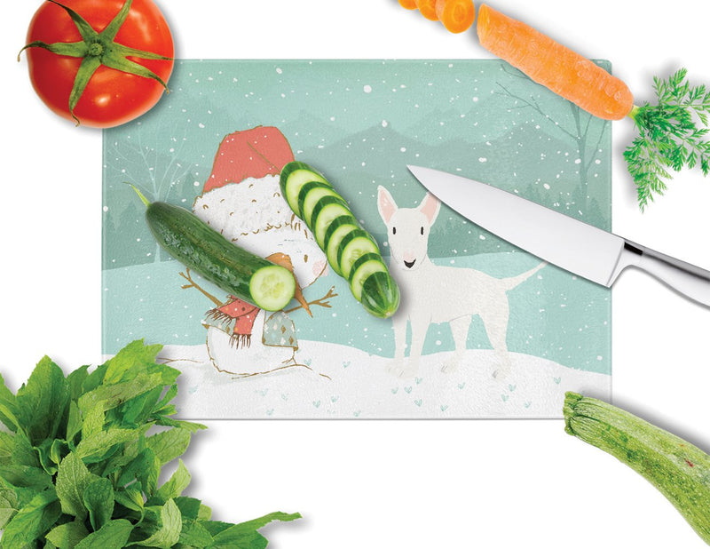 Buy this White Bull Terrier Snowman Christmas Glass Cutting Board Large CK2058LCB