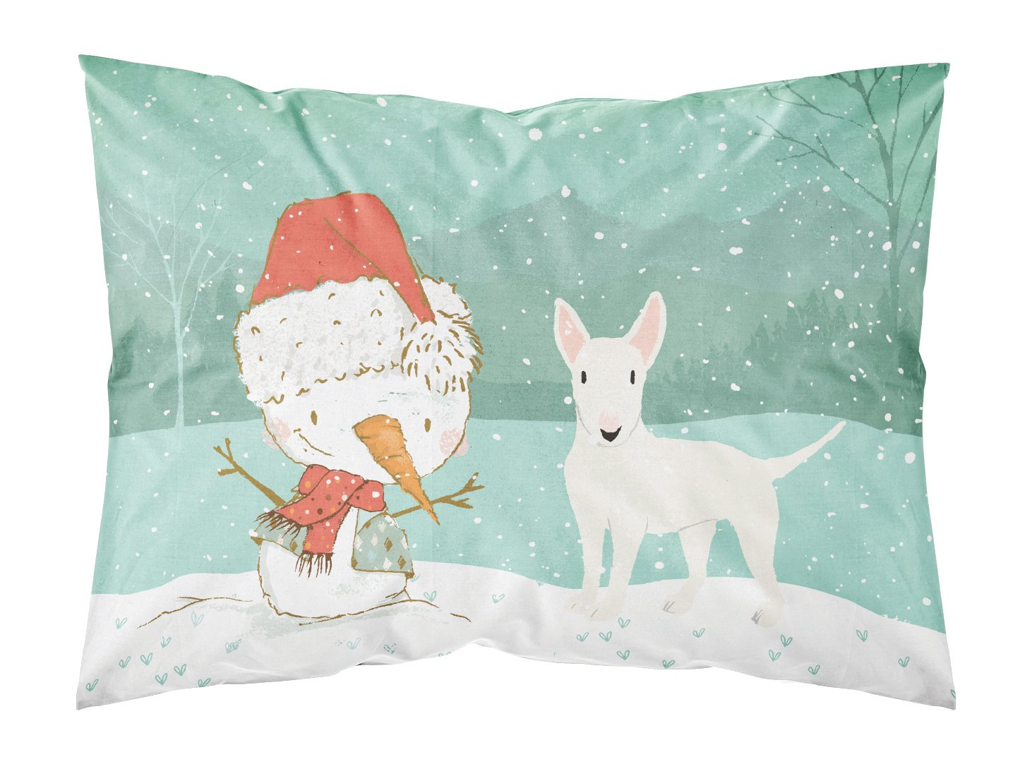 Buy this White Bull Terrier Snowman Christmas Fabric Standard Pillowcase CK2058PILLOWCASE