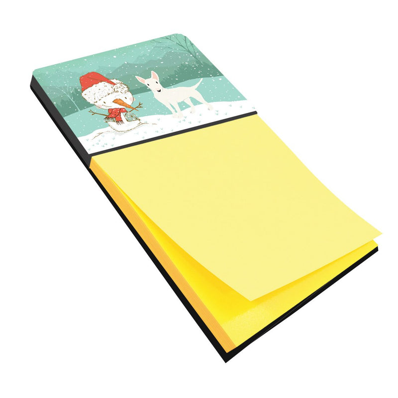 Buy this White Bull Terrier Snowman Christmas Sticky Note Holder CK2058SN