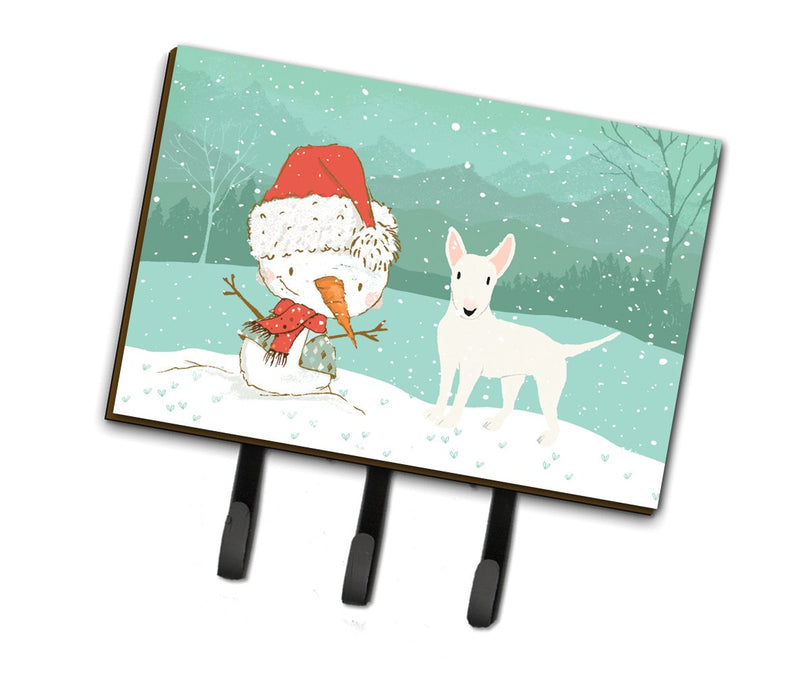 Buy this White Bull Terrier Snowman Christmas Leash or Key Holder CK2058TH68