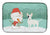 Buy this White Spot Bull Terrier Snowman Christmas Dish Drying Mat CK2059DDM