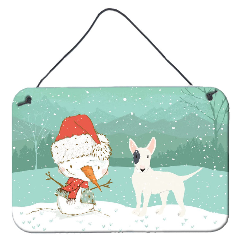 Buy this White Spot Bull Terrier Snowman Christmas Wall or Door Hanging Prints CK2059DS812