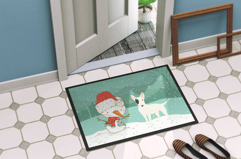 Buy this White Spot Bull Terrier Snowman Christmas Indoor or Outdoor Mat 24x36 CK2059JMAT