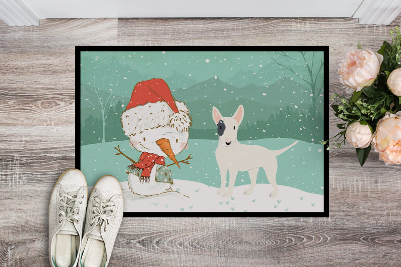Buy this White Spot Bull Terrier Snowman Christmas Indoor or Outdoor Mat 18x27 CK2059MAT