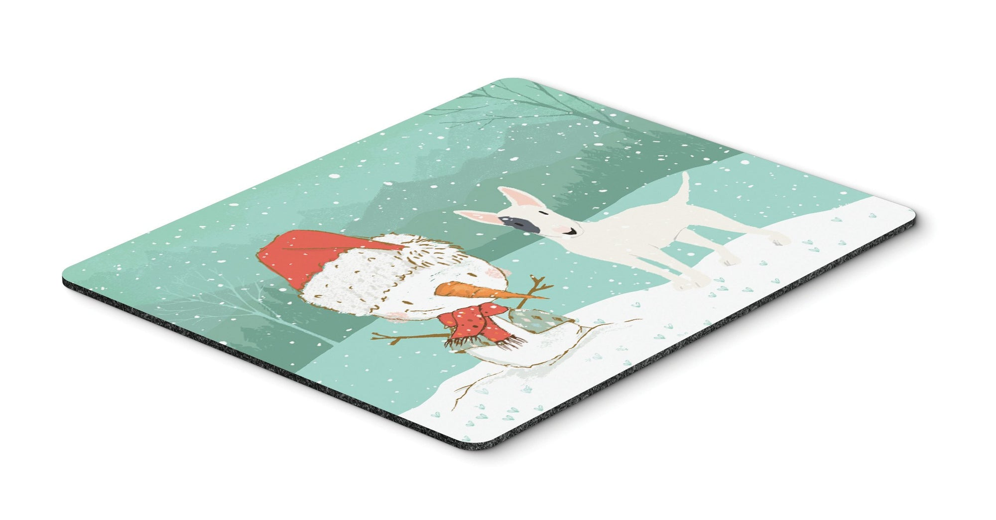 Buy this White Spot Bull Terrier Snowman Christmas Mouse Pad, Hot Pad or Trivet CK2059MP
