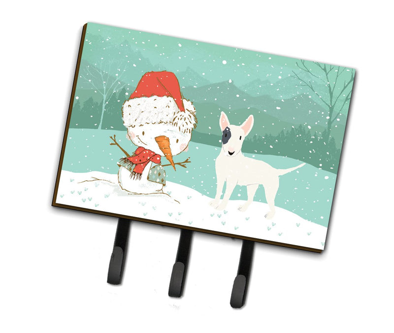 Buy this White Spot Bull Terrier Snowman Christmas Leash or Key Holder CK2059TH68