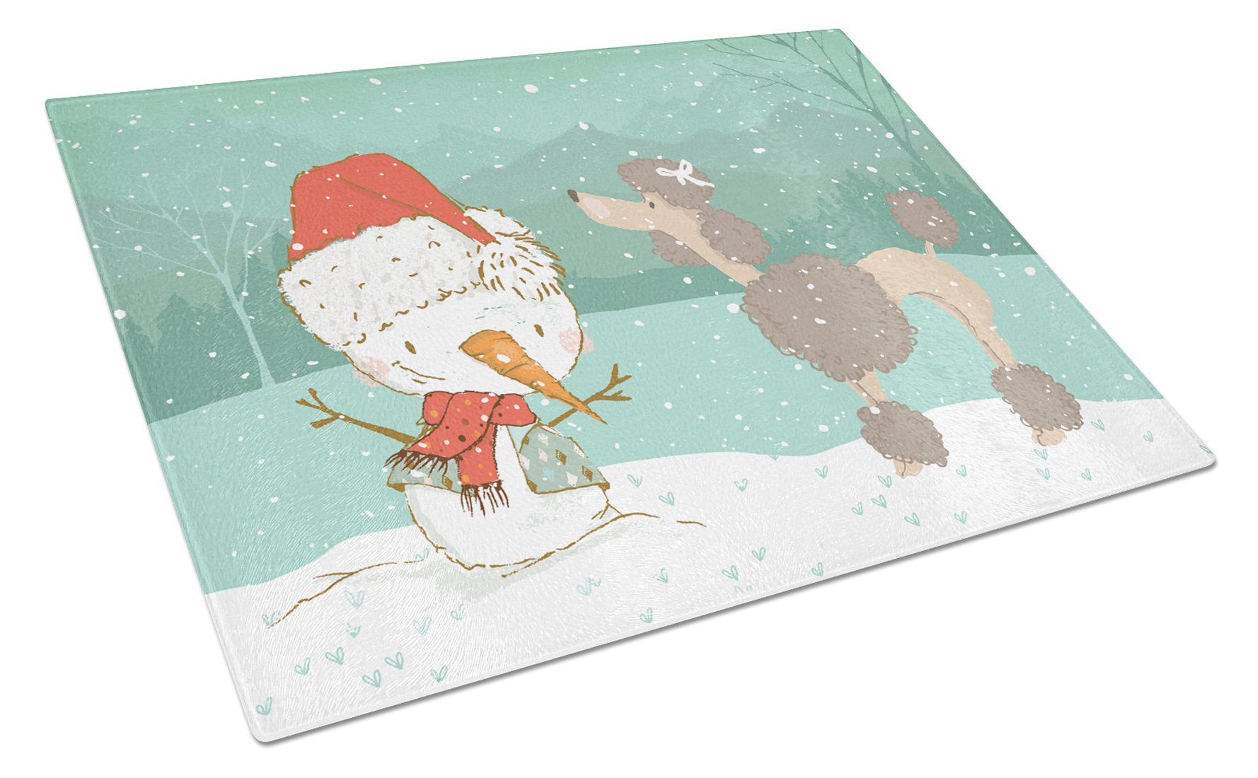 Chocolate Poodle Snowman Christmas Glass Cutting Board Large CK2065LCB by Caroline's Treasures