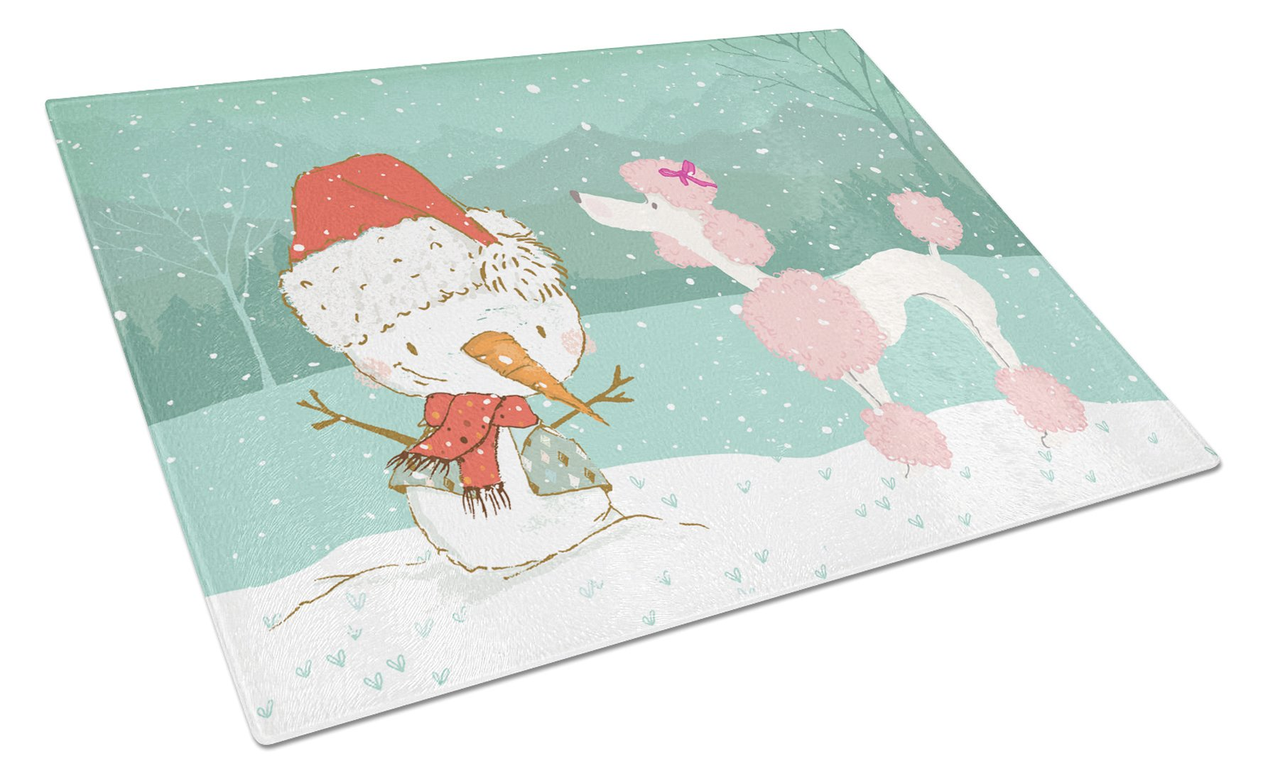 Pink Poodle Snowman Christmas Glass Cutting Board Large CK2066LCB by Caroline's Treasures