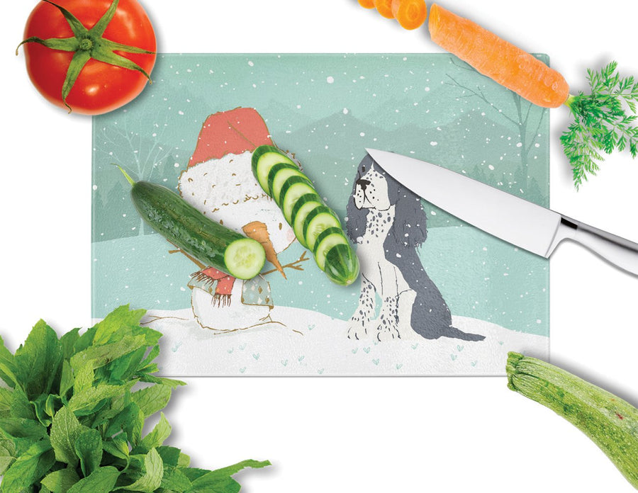 Buy this English Springer Spaniel Snowman Christmas Glass Cutting Board Large CK2073LCB