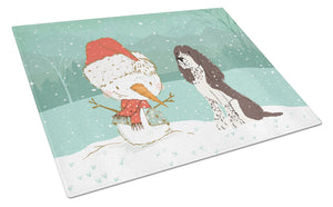 Buy this Brown English Springer Spaniel Snowman Christmas Glass Cutting Board Large CK2074LCB