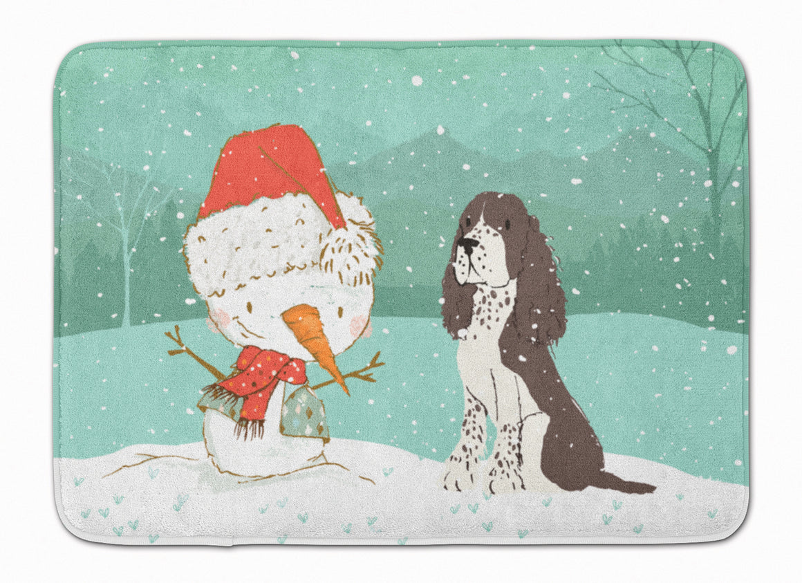 Buy this Brown English Springer Spaniel Snowman Christmas Machine Washable Memory Foam Mat CK2074RUG