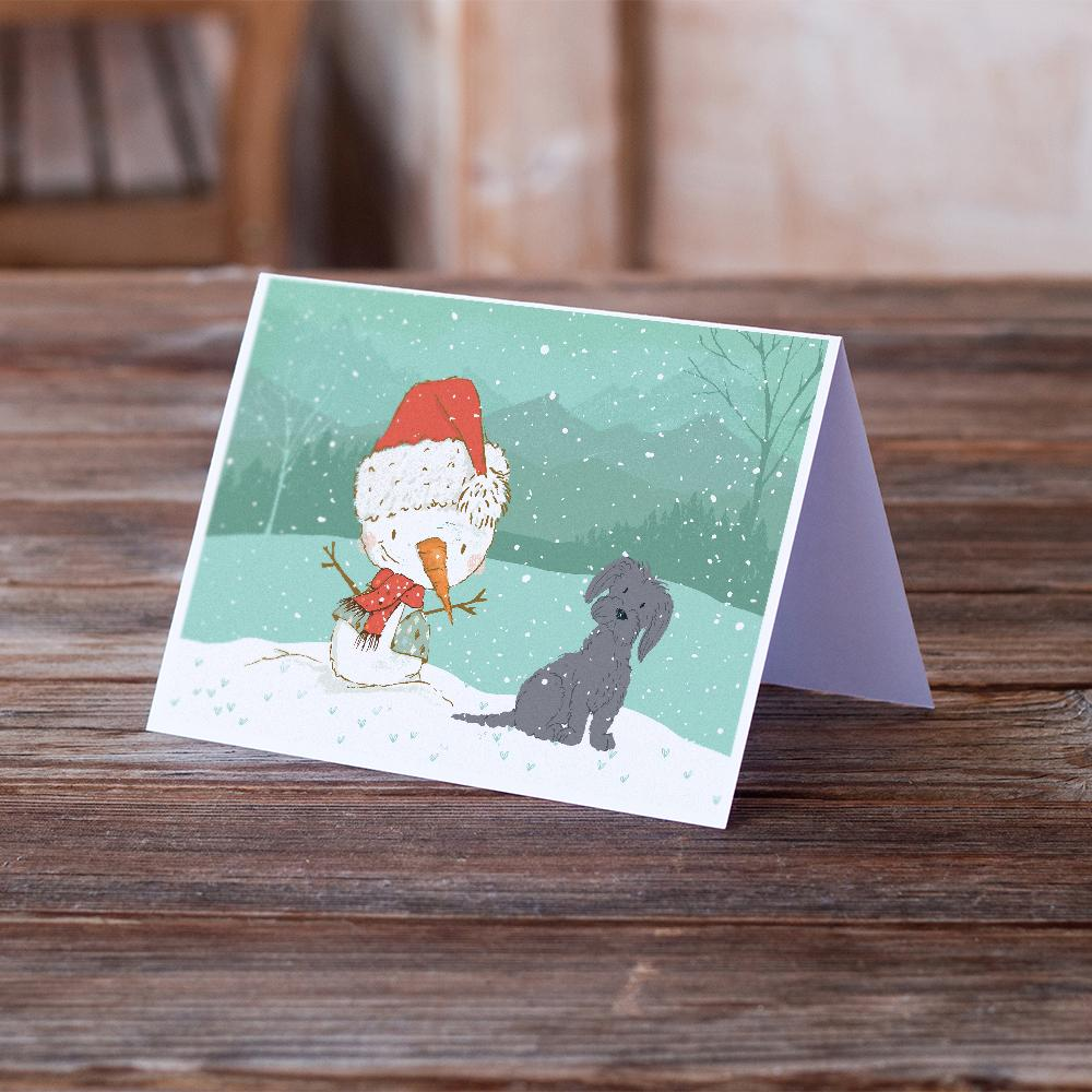 Buy this Black Maltese Snowman Christmas Greeting Cards and Envelopes Pack of 8