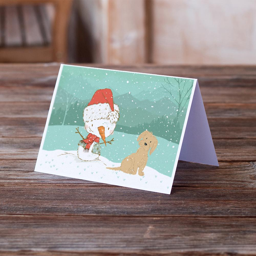 Buy this Brown Maltese Snowman Christmas Greeting Cards and Envelopes Pack of 8